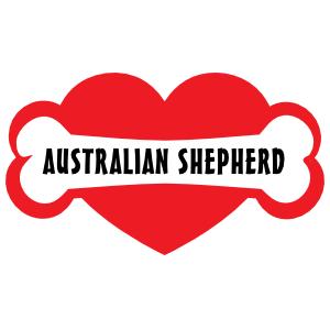 I Love My Dog with Australian Shepherd Bone and Heart Sticker