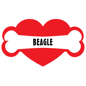 I Love My Dog with Beagle Bone and Heart Magnet