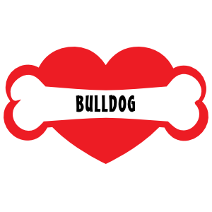 I Love My Dog with Bulldog Bone and Heart Magnet