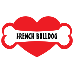 I Love My Dog with French Bulldog Bone and Heart Magnet