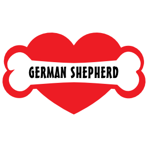 I Love My Dog with German Shepherd Bone and Heart Magnet