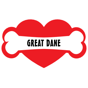 I Love My Dog with Great Dane Bone and Heart Sticker