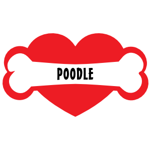 I Love My Dog With Poodle Bone And Heart Magnet