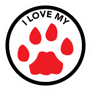 I Love My Dog With Red Paw Circle Sticker