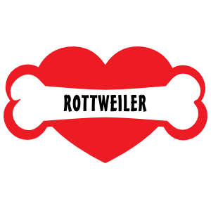 I Love My Dog With Rottweiler Bone And Heart Magnet