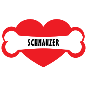 I Love My Dog with Schnauzer Bone and Heart Sticker