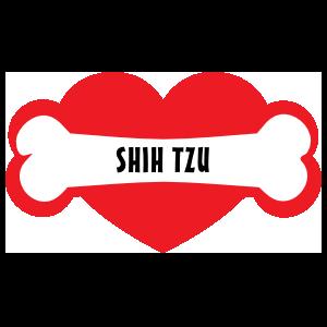 I Love My Dog With Shih Tzu Bone And Heart Magnet