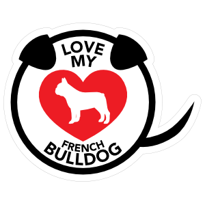 I Love My French Bulldog Puppy Heart Circle With Tail Sticker