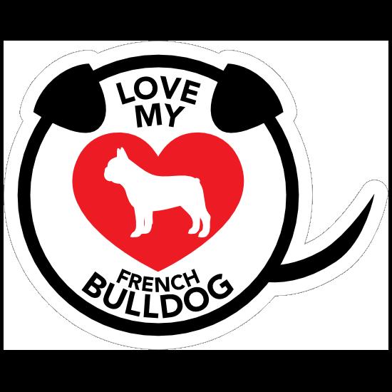 Bulldog Paw Love Heart Pet Dog License Plate Frame Tag Holder