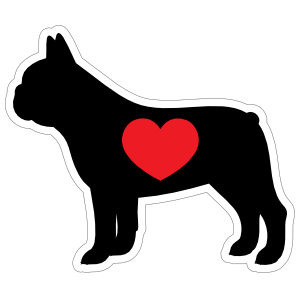 I Love My French Bulldog Silhouette With Heart Magnet