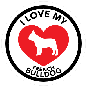 I Love My French Bulldog with big Heart Circle Magnet