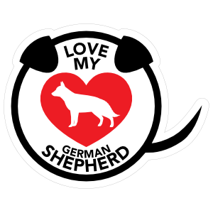 I Love My German Shepherd Puppy Heart Circle With Tail Magnet
