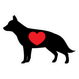 I Love My German Shepherd Silhouette With Heart Magnet