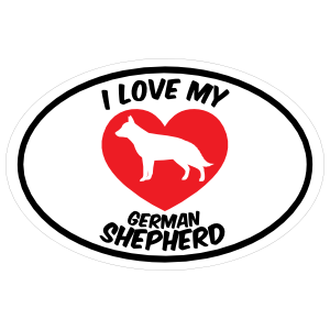 I Love My German Shepherd Text with Heart Oval Magnet