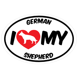 I Love My German Shepherd with Big Text Oval Magnet