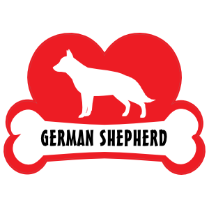 I Love My German Shepherd with Dog Bone and Heart Sticker