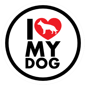 I Love My German Shepherd With Heart Circle Magnet