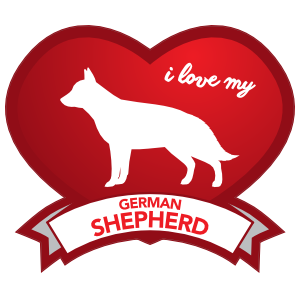 I Love My German Shepherd With Shaded Heart Magnet