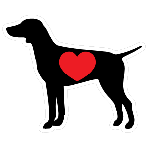 I Love My German Shorthaired Pointer Silhouette with Heart Sticker
