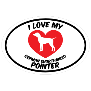 I Love My German Shorthaired Pointer Text with Heart Oval Sticker