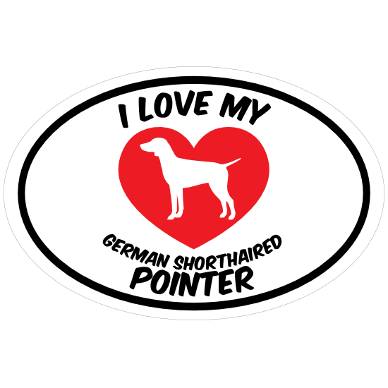 I Love My German Shorthaired Pointer Text With Heart Oval Magne
