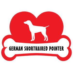 I Love My German Shorthaired Pointer with Dog Bone and Heart Sticker