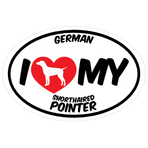 I Love My German Shorthaired Pointer with Big Text Oval Sticker