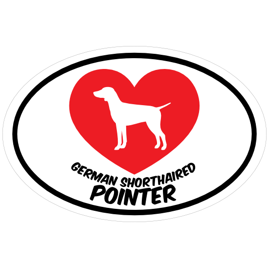 I Love My German Shorthaired Pointer With Heart Oval Magnet
