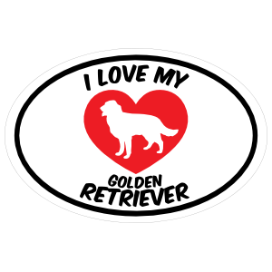 I Love My Golden Retriever Text With Heart Oval Sticker