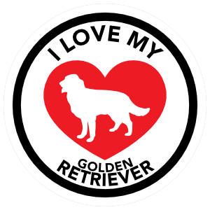 I Love My Golden Retriever with big Heart Circle Sticker