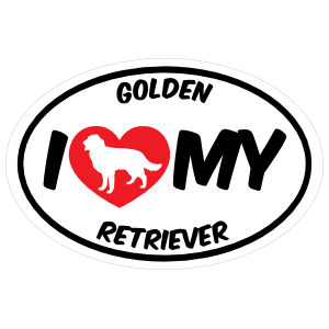 I Love My Golden Retriever With Big Text Oval Sticker