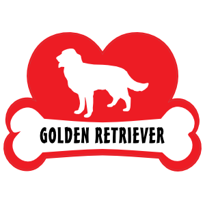 I Love My Golden Retriever with Dog Bone and Heart Magnet