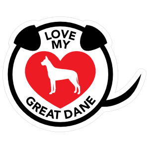 I Love My Great Dane Puppy Heart Circle with Tail Sticker