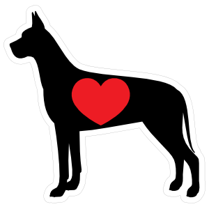 I Love My Great Dane Silhouette with Heart Sticker