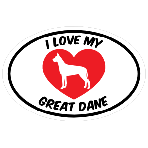 I Love My Great Dane Text with Heart Oval Sticker