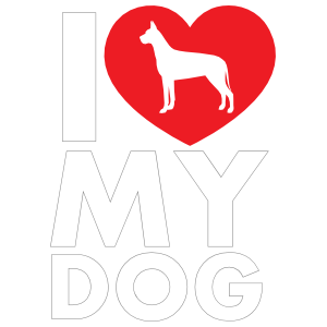I Love My Great Dane Text with Heart Sticker