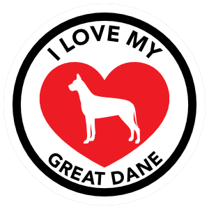 I Love My Great Dane with big Heart Circle Sticker