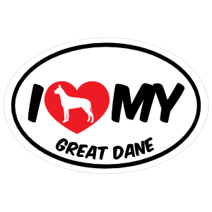 I Love My Great Dane with Big Text Oval Sticker
