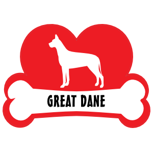 I Love My Great Dane with Dog Bone and Heart Sticker