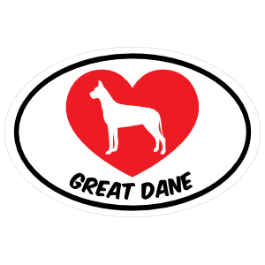 I Love My Great Dane with Heart Oval Sticker