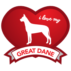 I Love My Great Dane with Shaded Heart Sticker