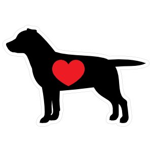 I Love My Labrador Silhouette with Heart Magnet