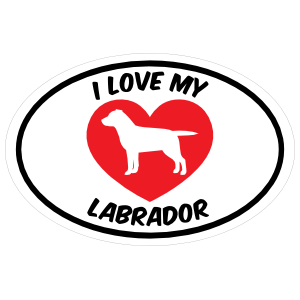 I Love My Labrador Text with Heart Oval Magnet