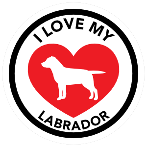 I Love My Labrador with big Heart Circle Magnet