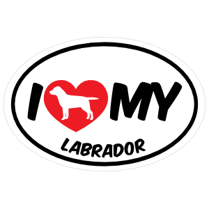 I Love My Labrador with Big Text Oval Magnet
