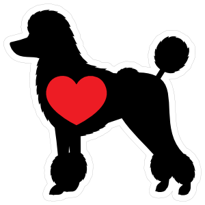 I Love My Poodle Silhouette With Heart Sticker