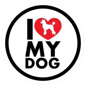 I Love My Poodle With Heart Circle Magnet