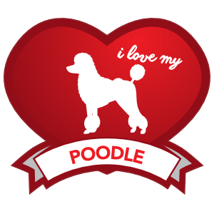 I Love My Poodle With Shaded Heart Magnet