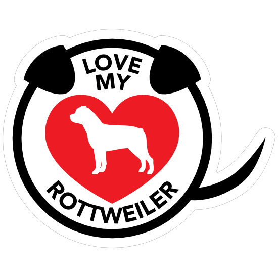 I Love My Rottweiler Puppy Heart Circle With Tail Magnet
