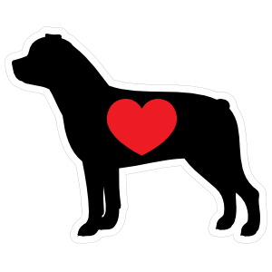 I Love My Rottweiler Silhouette With Heart Magnet